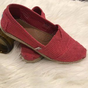 Pink Tom Slip On's w cutouts and wicker 6
